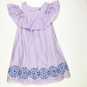 Janie and Jack Girls Off Shoulder Lavender Dress 6